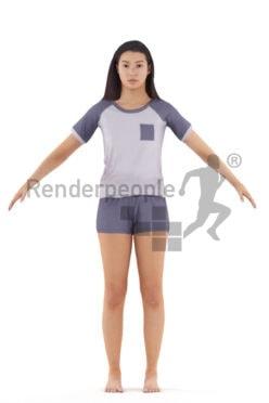 Rigged and retopologized 3D People model – hispanic woman in sleepwear