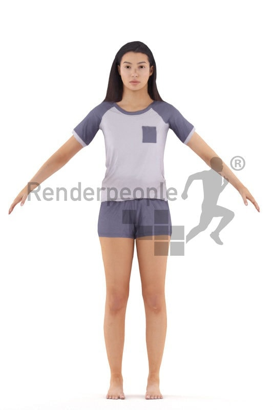 Rigged and retopologized 3D People model – hispanic woman in sleepwear