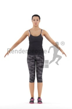 Rigged 3D People model for Maya and 3ds Max – hispanic woman in sports outfit