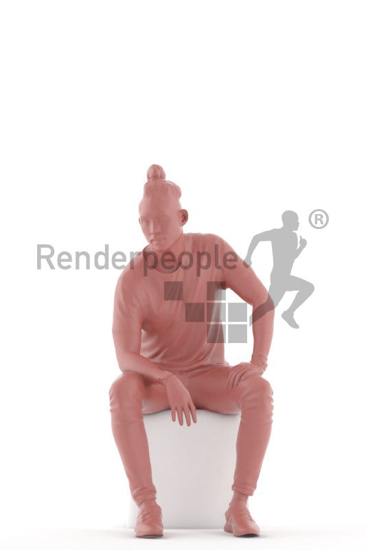 3d people casual, 3d asian man sitting