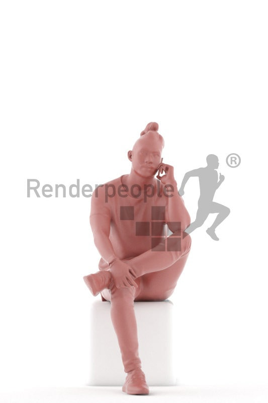 3d people casual, 3d asian man sitting and calling