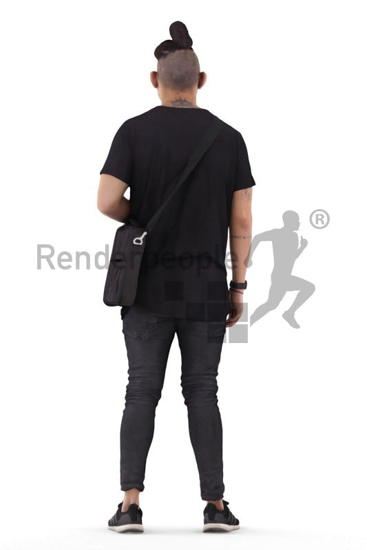 3d people casual, 3d asian man standing with an office bag