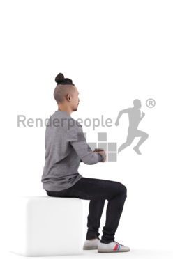 Posed 3D People model by Renderpeople – asian man in casual outfit, sitting and listening while holding a to go cup