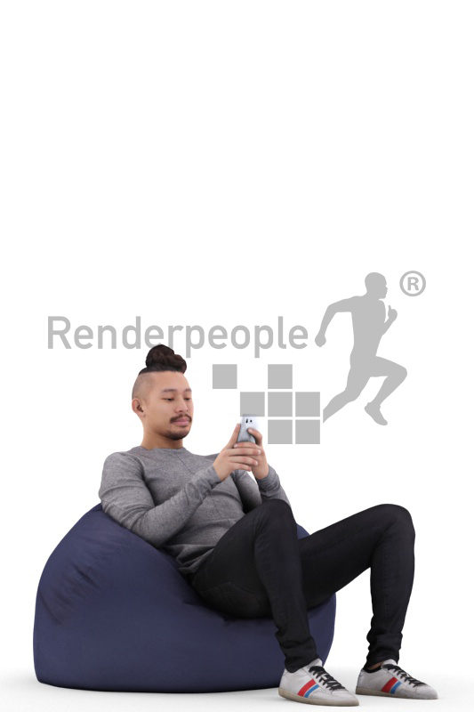 Posed 3D People model for renderings – asian man in daily clothes, relaxing in a beanbag and using his smartphone