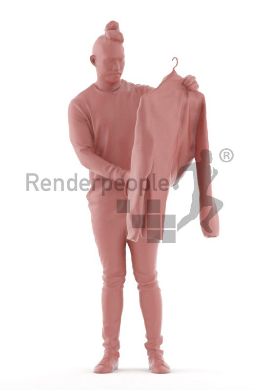 Scanned 3D People model for visualization – asian man in casual outfit, looking for a jacket in the mall