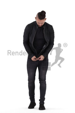 Photorealistic 3D People model by Renderpeople – asian man walking and closing his jacket