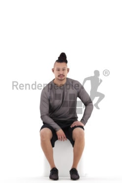 Posed 3D People model by Renderpeople – asian man in casual outfit, sitting