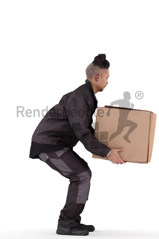 Scanned 3D People model for visualization – asian man in workwear, carrying a box