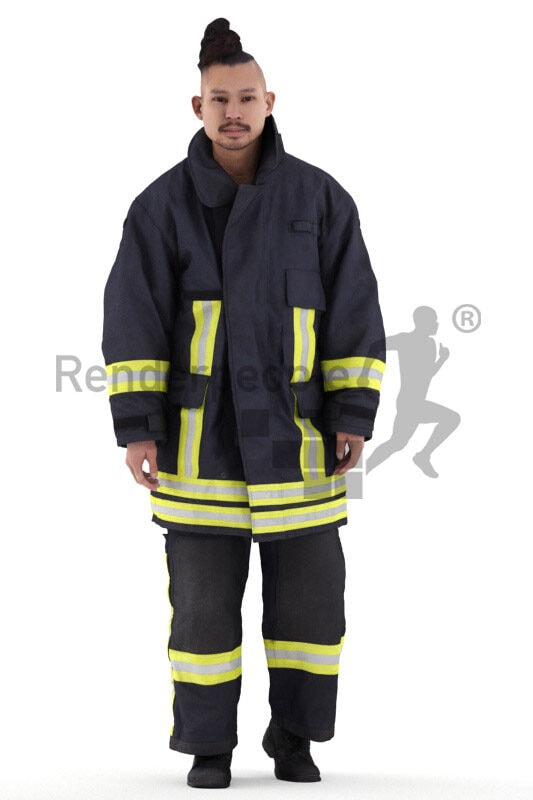 Photorealistic 3D People model by Renderpeople – asian man in firefighter outfit, walking