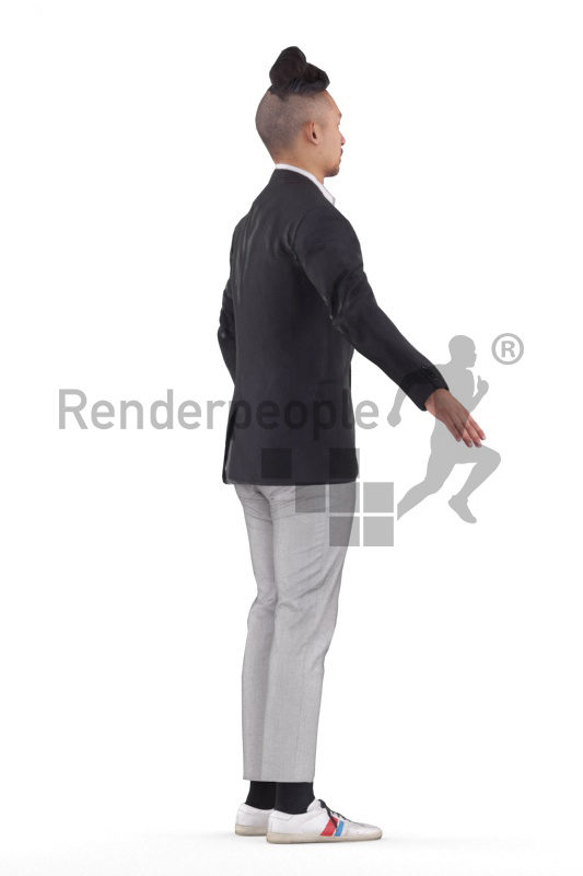 Rigged human 3D model by Renderpeople – asian man in office look
