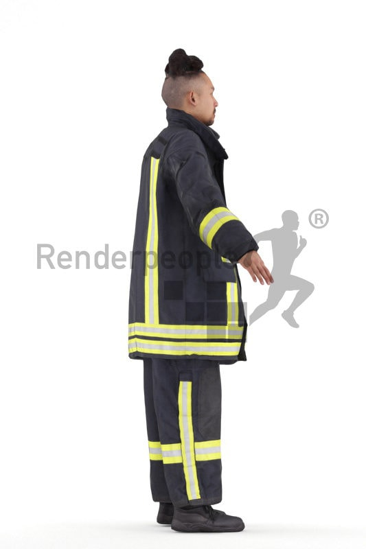 Rigged 3D People model for Maya and 3ds Max –asian man in fireworker uniform