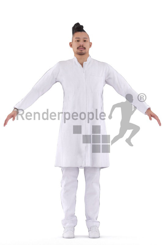 Rigged 3D People model for Maya and 3ds Max – asian man in doctors outfit