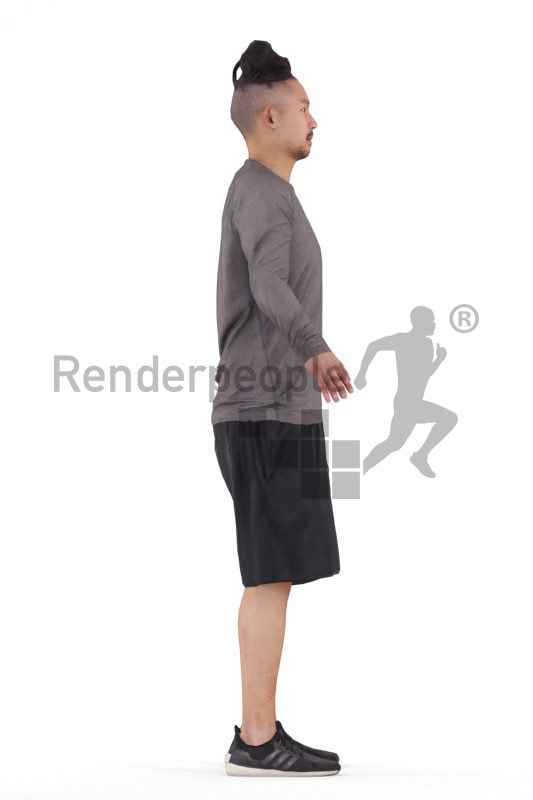 Rigged and retopologized 3D People model – asian man in sportswear