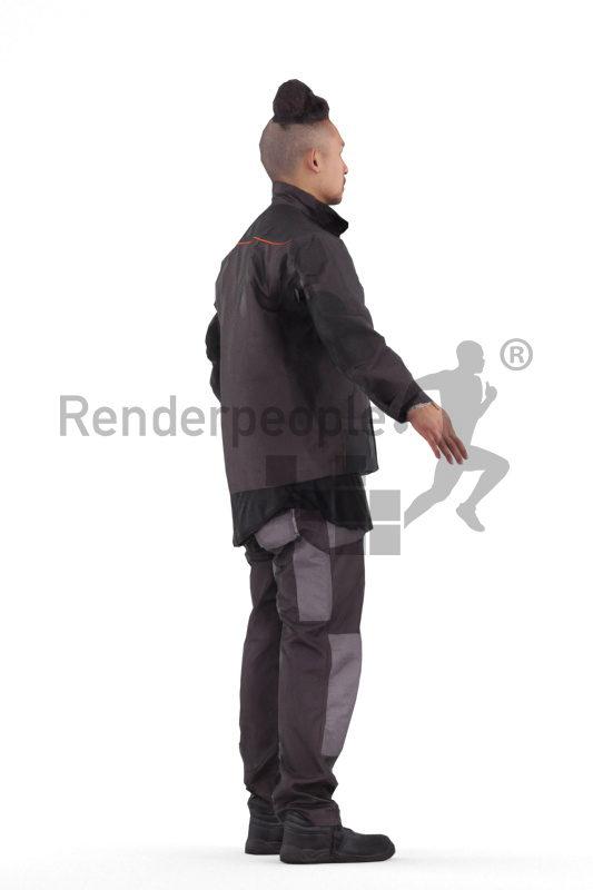 Rigged human 3D model by Renderpeople – asian man in workwear