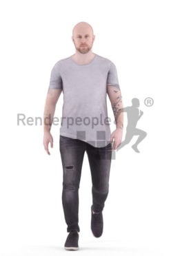 3D People model for animations – white male in daily outfit,walking