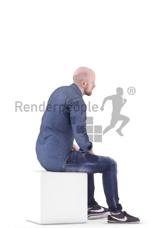3D People model for animations – white man in smart casual look, sitting