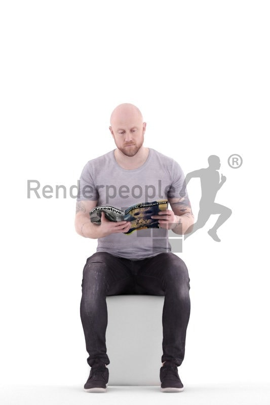 3d people casual, white 3d woman sitting and reading
