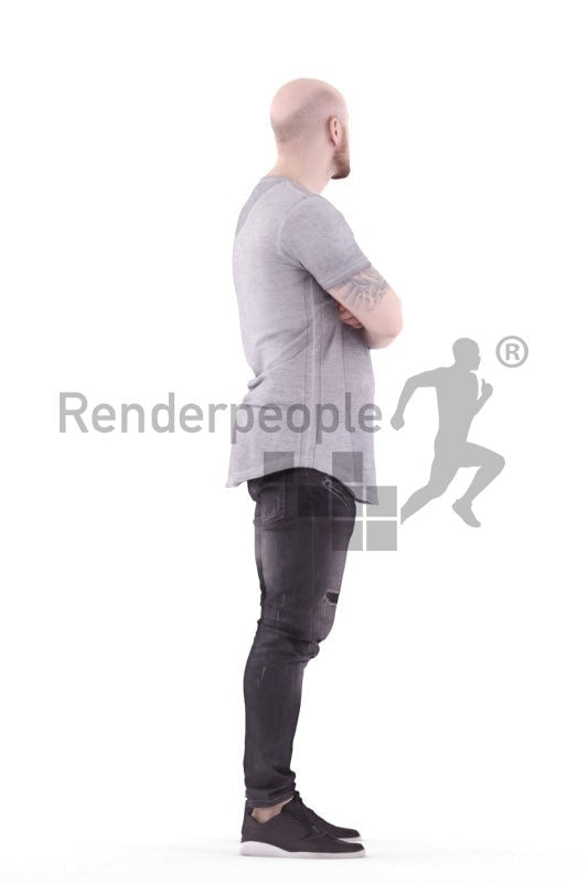 3d people casual, white 3d woman standing arms crossed
