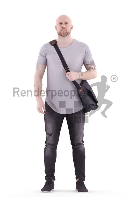 3d people casual, white 3d woman standing and carrying shoulderbag