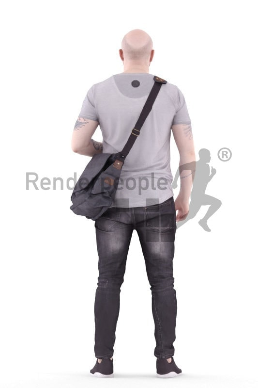 3d people casual, white 3d man standing and carrying shoulderbag