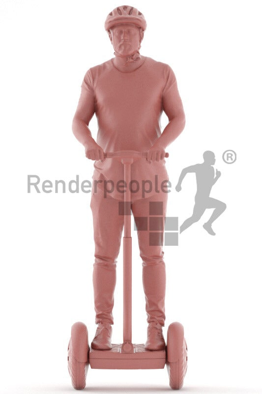 3D People model for 3ds Max and Cinema 4D – european man in casual look on an e-scooter, wearing a helmet