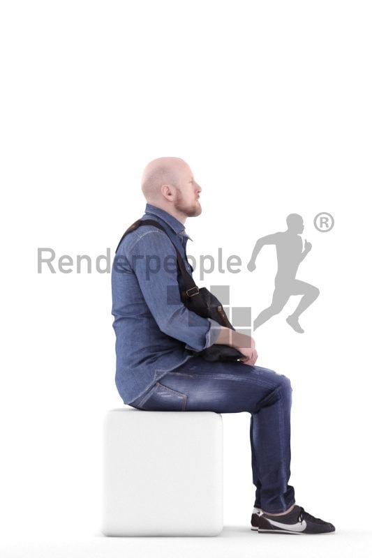3d people casual, white 3d man sitting and carrying shoulderbag