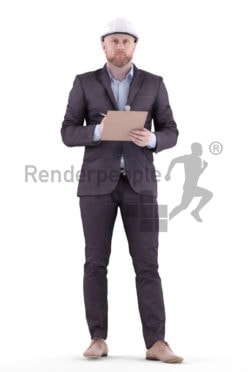 3d people business, white 3d man standing and holding a clipboard