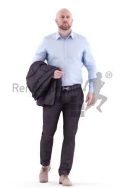 3d people business, white 3d man walking with jacket over his arm