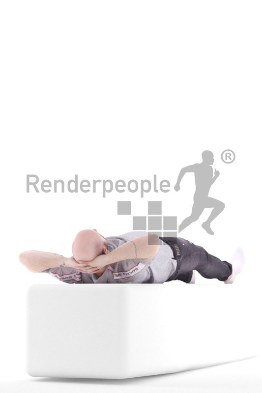 3d people casual, white 3d man sleeping