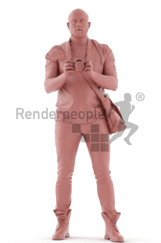 3d people casual, white 3d man standing with camera