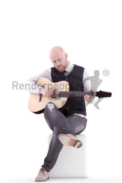 3d people event, white 3d man sitting playing guitar