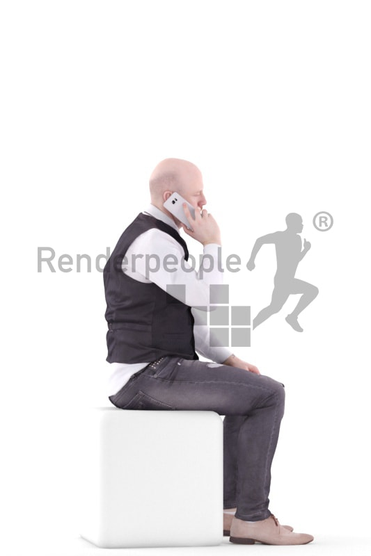 3d people event, white 3d man sitting and calling