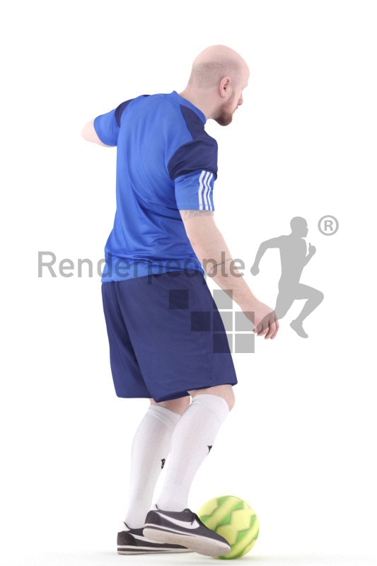 3d people sports, white 3d man playing soccer