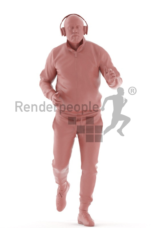 3d people sports, white 3d man running