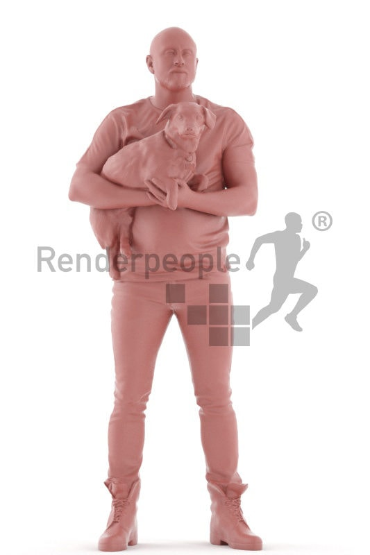 3d people casual, white 3d man holding dog