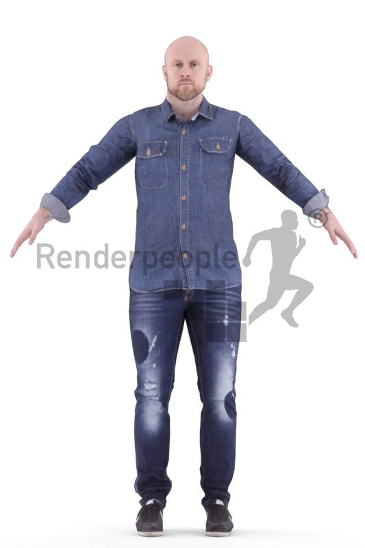 Rigged human 3D model by Renderpeople – european man with casual shirt