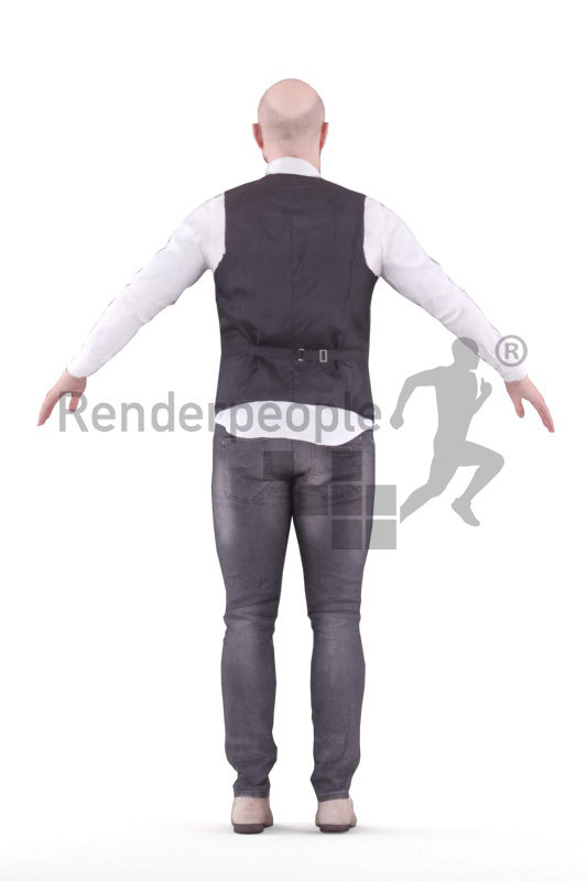 Rigged human 3D model by Renderpeople – white man in business clothes