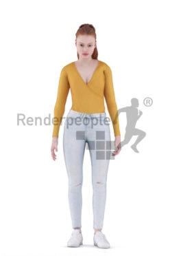 Animated 3D People model for realtime, VR and AR – european woman, standing