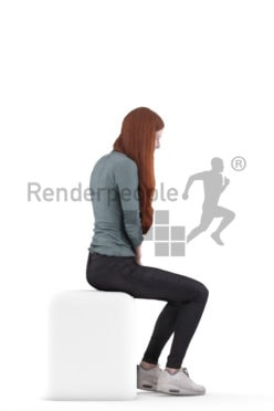 3d people casual, 3d white woman, sitting and calling