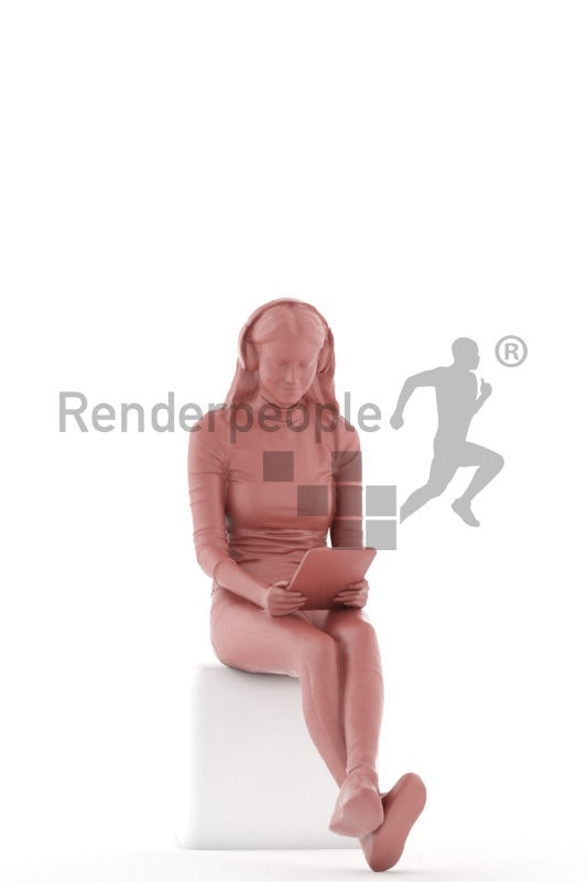 3D People model for 3ds Max and Sketch Up – european femal sitting with tablet and listening to music, casual clothing