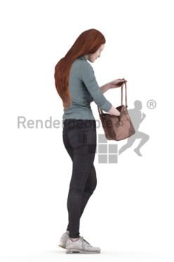 Photorealistic 3D People model by Renderpeople – white woman with red hair in casual look, searching for something in her bag