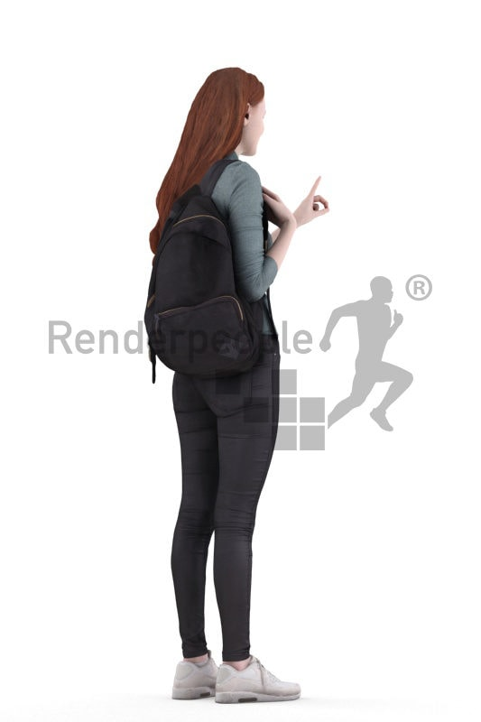 Posed 3D People model for visualization – european woman with red hair, standing and pointing on something, casual
