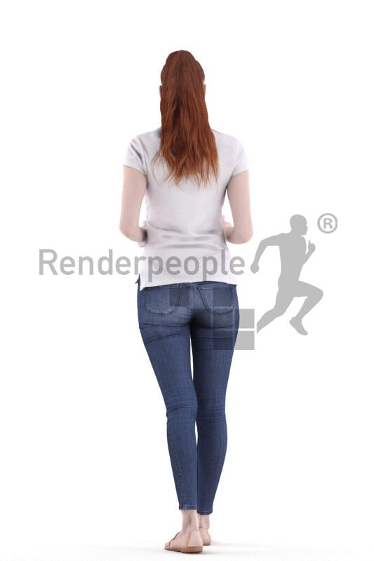 Posed 3D People model for visualization – european woman with red hair, walking and carrying two cups
