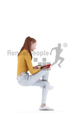 Posed 3D People model by Renderpeople – white woman with red hair, sitting and reading a book, casual look