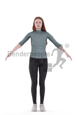 3d people casual, 3d white woman rigged