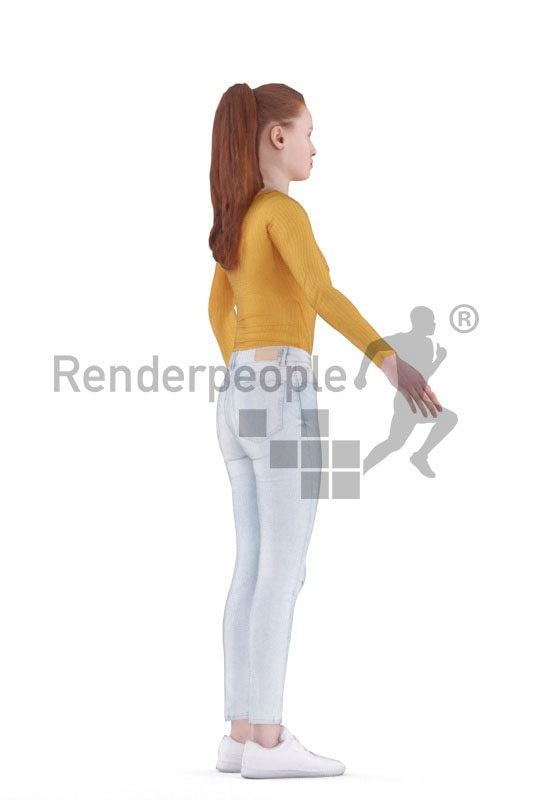 3d people casual, white 3d woman rigged
