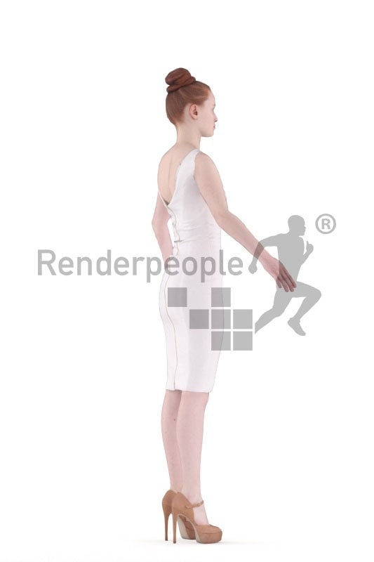 3d people event, white woman rigged