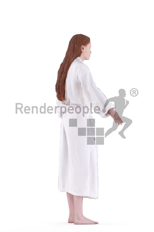 3d people spa, white 3d woman with bathrobe rigged