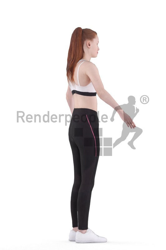 Rigged human 3D model by Renderpeople – european woman in sportswear