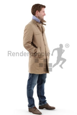 3d people outdoor, white 3d man wearing a jacket